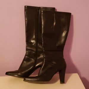 Black Patent Leather Knee High Boots [Nine West]